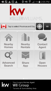 WB Group Keller Williams app - main menu